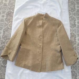 Dana Buchman, Ladies, Gold, Silk Jacket, Size 12.